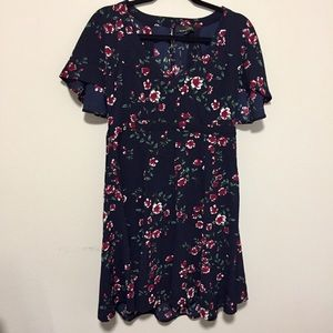 Summer Floral Print Knee Length Flowy Dress